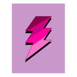 Perno de trueno rosado del relámpago postal
