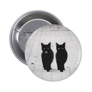 Perno del botón de dos gatos negros pin redondo de 2 pulgadas