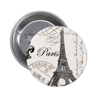 Perno del botón de París del vintage… Pin Redondo De 2 Pulgadas
