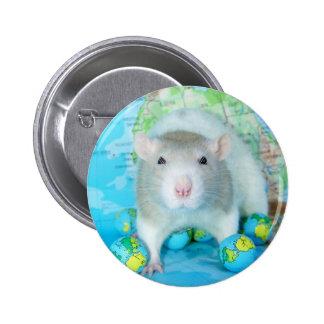 Perno del día de la rata del mundo pin redondo de 2 pulgadas