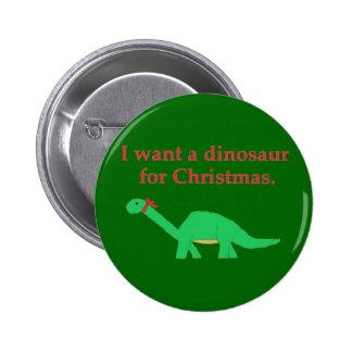 Perno del dinosaurio del navidad pin redondo de 2 pulgadas