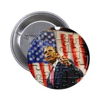 Perno del pedazo del rompecabezas de Obama Pin Redondo 5 Cm