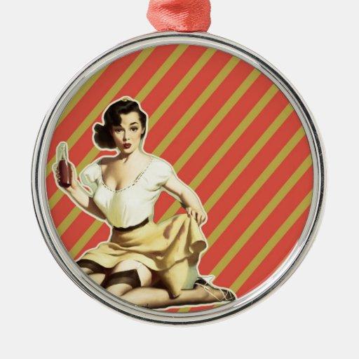 Perno lindo del vintage del modelo retro encima adorno navideño redondo de metal