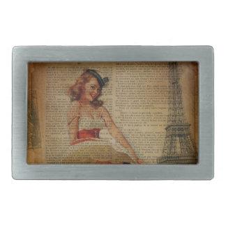 Perno náutico de la torre Eiffel de París encima Hebillas Cinturon Rectangulares