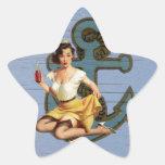 Perno náutico femenino del vintage del ancla encim calcomania forma de estrella personalizada