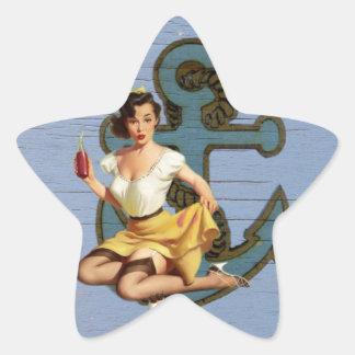 Perno náutico femenino del vintage del ancla pegatina en forma de estrella