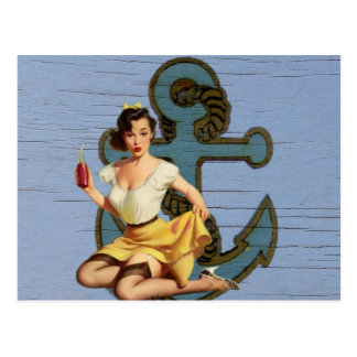 Perno náutico femenino del vintage del ancla tarjeta postal