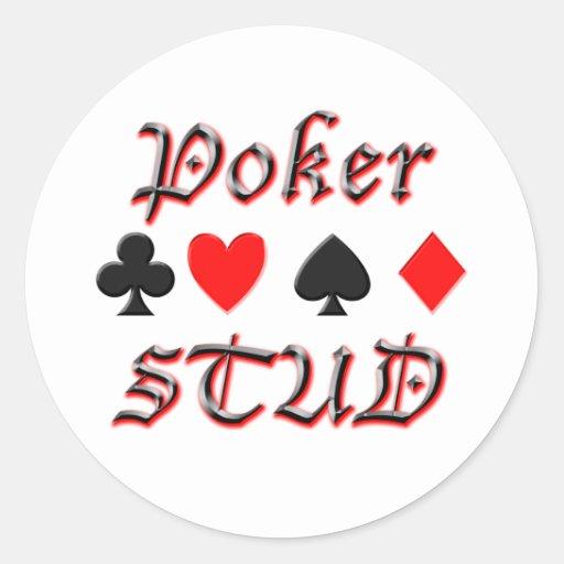 Perno prisionero del póker etiqueta redonda
