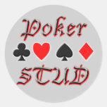 Perno prisionero del póker pegatina redonda