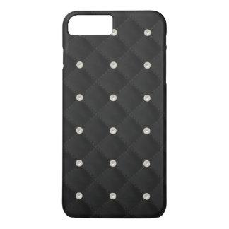 Perno prisionero negro de la perla acolchado funda iPhone 7 plus