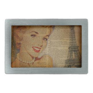 Perno retro de París de la torre Eiffel encima del Hebilla De Cinturon Rectangular