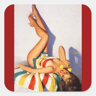 Perno retro del teléfono de Gil Elvgren del vintag Pegatina Cuadradas Personalizada
