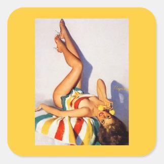 Perno retro del teléfono de Gil Elvgren del vintag Calcomanía Cuadradas Personalizadas