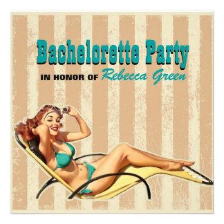 perno retro del traje de baño encima del fiesta de invitacion personalizada
