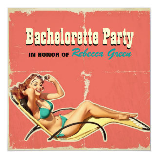 """perno retro del traje de baño encima del fiesta invitación 5.25"""" x 5.25"""""""