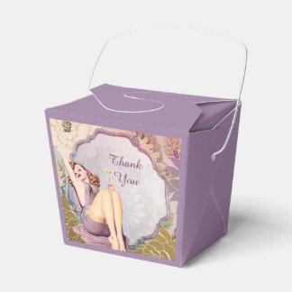perno retro encima de la fiesta del té nupcial cajas para regalos de boda
