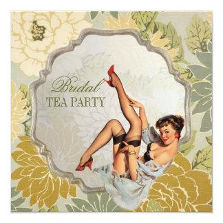 perno retro encima de la fiesta del té nupcial