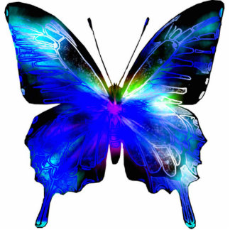 Perno u ornamento cortado mariposa azul adorno fotoescultura