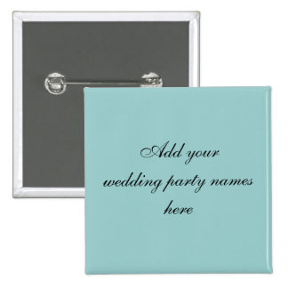 Pernos azules del nombre del banquete de boda de P Pin Cuadrado
