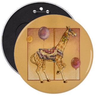 Pernos, botones - jirafa del carrusel pin redondo de 6 pulgadas