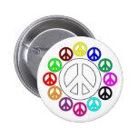 pernos coloridos de los signos de la paz pins