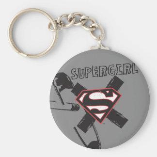 Pernos de seguridad negros de Supergirl Llavero Redondo Tipo Pin