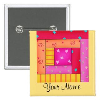 Pernos personalizados del arte del bloque del pin cuadrada 5 cm