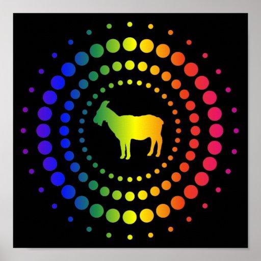 Pernos prisioneros del arco iris de la cabra póster