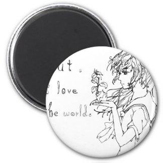 Pero amo el mundo [el chica del manga] imán redondo 5 cm