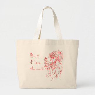 Pero amo el rojo del mundo [el chica del manga] bolsa tela grande