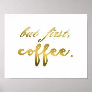 Pero primera hoja de oro del café en la impresión