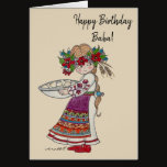 Perogie Pyrohy Pierogi Girl Ukrainian Baba Card