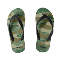 Peronalized Army Camo Kids Flip Flops For Children at Zazzle
