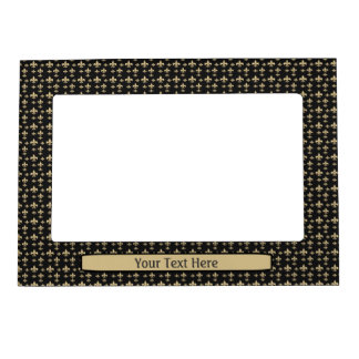 Peronalized Black Gold Fleur de Lis Pattern Magnetic Photo Frame