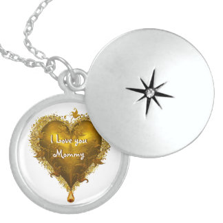 Peronalized Gold Heart Mothers Day Round Locket Necklace
