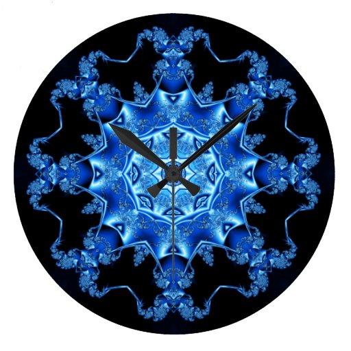 Peroné azul del esmalte reloj de pared