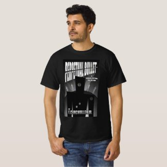 Perpetual Bullet book cover on a black T-Shirt