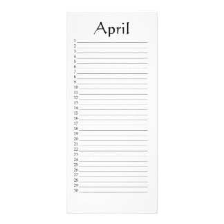 Perpetual Calendar April Daniel 4:22 Rack Card