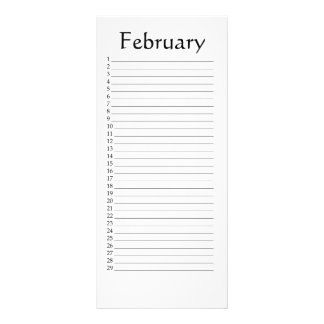 Perpetual Calendar February Scripture Rack Card