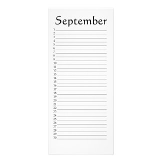 Perpetual Calendar September Habakkuk 3:4 Rack Card