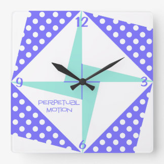 Perpetual Motion- Blue Square Wall Clock