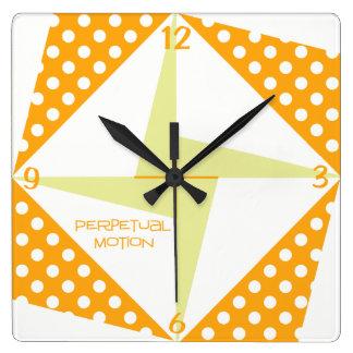 Perpetual Motion- Orange Square Wall Clock