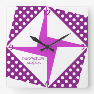 Perpetual Motion- Purple Square Wall Clock