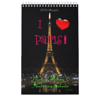 Perpetual Paris Birthday Anniversary Calendar