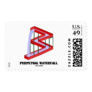 Perpetual Waterfall Optical Illusion Visual Humor Postage Stamp