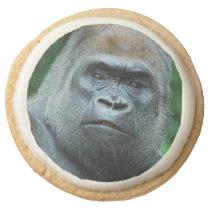 Perplexed Gorilla Round Shortbread Cookie
