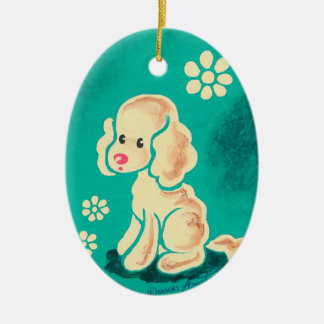 Perplexed Puppy Double-Sided Oval Ceramic Christmas Ornament