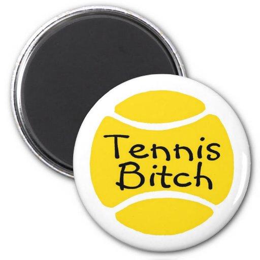 Perra del tenis imán redondo 5 cm