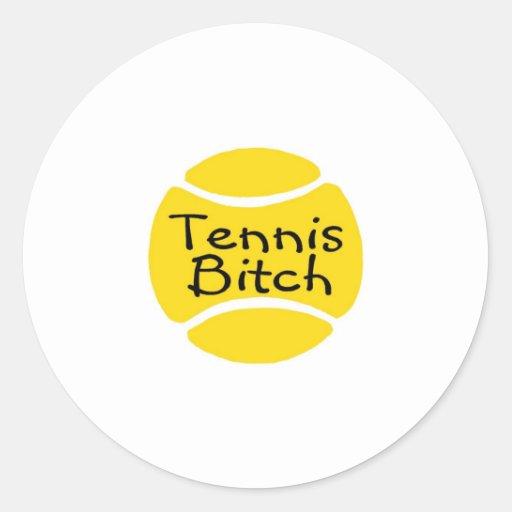 Perra del tenis pegatina redonda