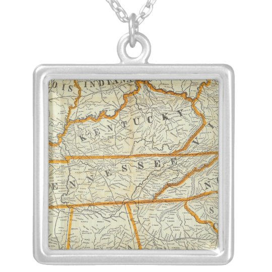 Perrine's New Topographical War Map Silver Plated Necklace